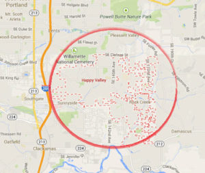 Happy Valley Locksmith service map