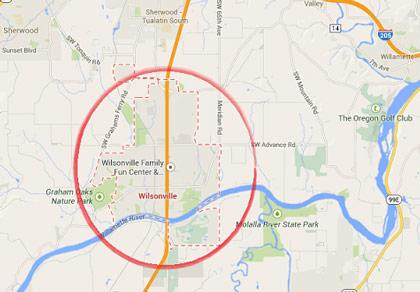 Wilsonville locksmith service map