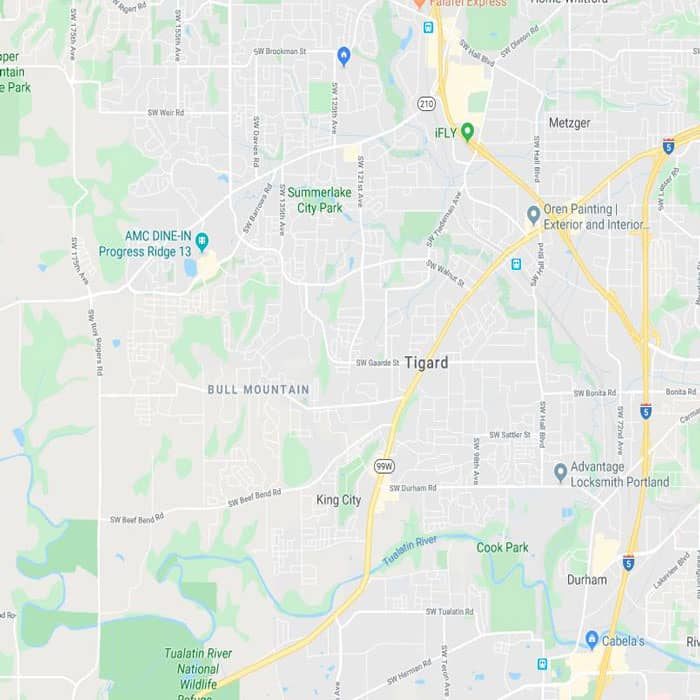 Locksmith Tigard map